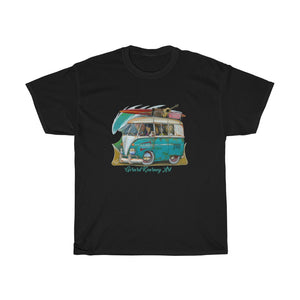 Surf Safari  Cotton Tee featuring Kombi Surf Van - Gerard Kearney Art Australia