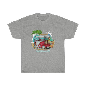 Hippy Dude Cotton Tee featuring Kombi Surf Van - Gerard Kearney Art Australia