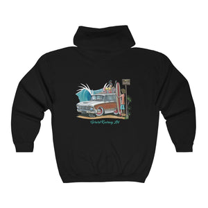 Good Vibrations Hooded Sweatshirt feat. Ford Falcon Squire Woody Wagon - Gerard Kearney Art Australia