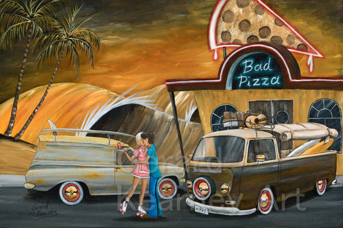 Bad Pizza Original Painting - Gerard Kearney Art Australia