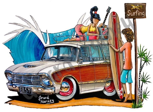 Good Vibrations Original Painting feat. Ford Falcon Squire Woody Wagon - Gerard Kearney Art Australia