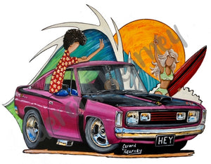 Hey Charger Print feat. Chrysler Charger - Gerard Kearney Art Australia