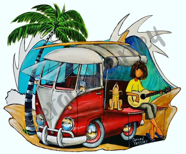 Hippy Dude with Wave Print feat. Kombi Surf Van - Gerard Kearney Art Australia