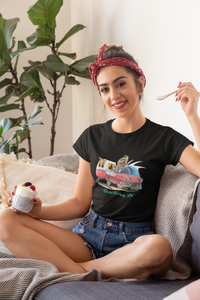 Life is a Highway Women's Tee feat. Nostalgic Holden FB with Caravan - Gerard Kearney Art Australia