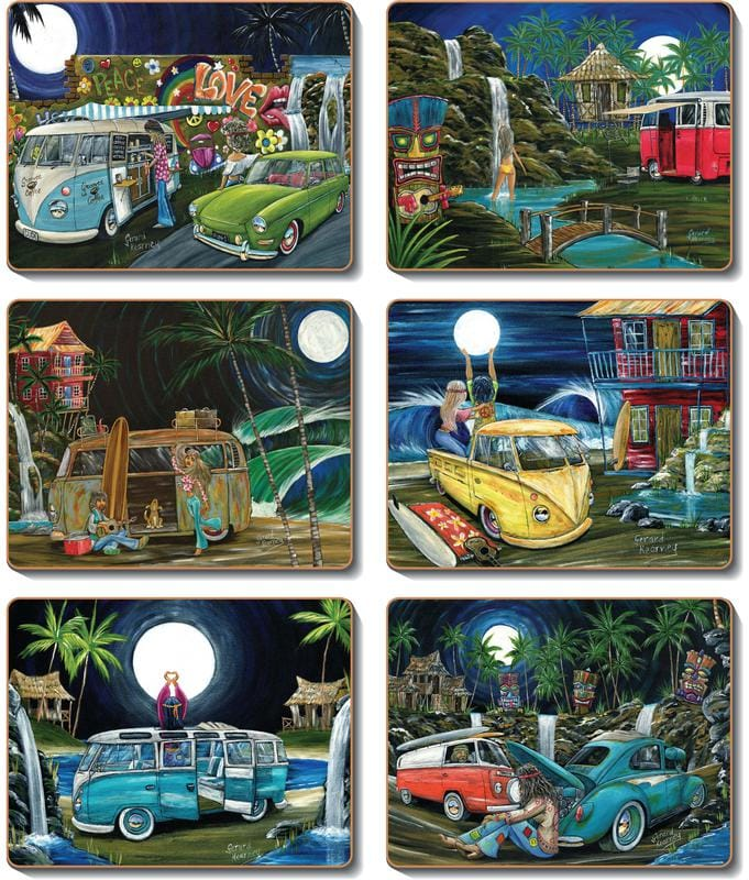 Lunar Lovers Placemats and Coasters feat. Kombi surf vans and Beetles - Gerard Kearney Art Australia