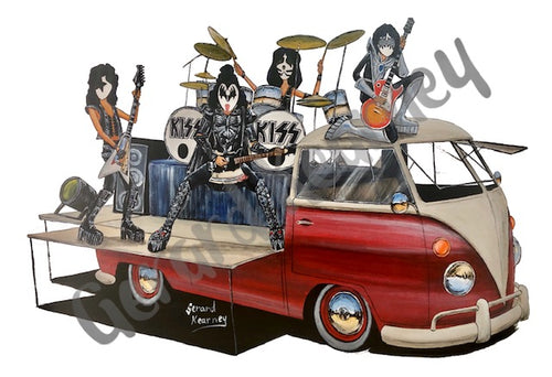 Sure Know Something Original Painting featuring Kiss and Kombi Surf Van - Gerard Kearney Art Australia