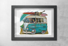 Load image into Gallery viewer, Surf Safari Print featuring Volkswagen Kombi Surf Bus - Gerard Kearney Art Australia