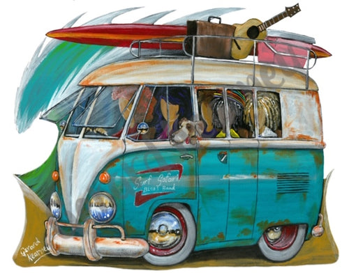 Surf Safari Original Painting featuring Volkswagen Kombi Surf Bus - Gerard Kearney Art Australia