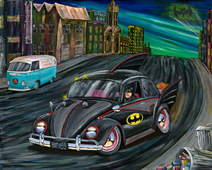 The Bat Bug Original Painting featuring Batman and Beetle - Gerard Kearney Art Australia