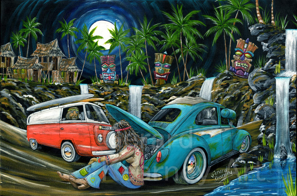 Tiki Tow Job Original feat. Kombi and Beetle - Gerard Kearney Art Australia