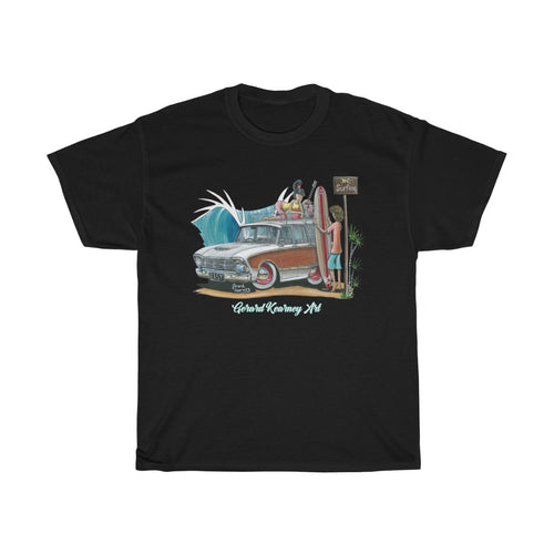 Good Vibrations Cotton Tee featuring Ford Falcon Squire Woody Wagon - Gerard Kearney Art Australia