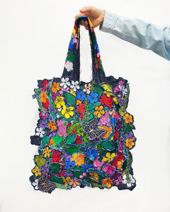 Shopping bag Embroidery Flower - ONE SIZE