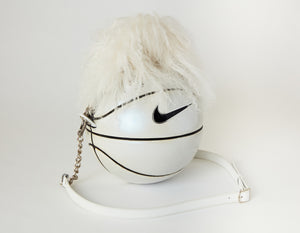 Vintage White Pearlescent Nike Basketball Bag with Mongolian Sheep Skin