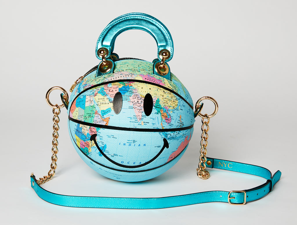Smiley World Map Basketball Bag