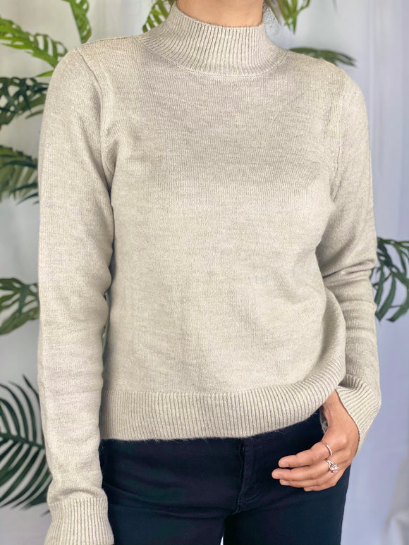 Miranda Mock Neck Sweater (sand)