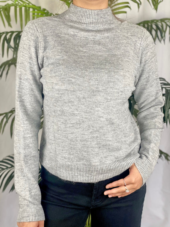 Miranda Mock Neck Sweater (gray)