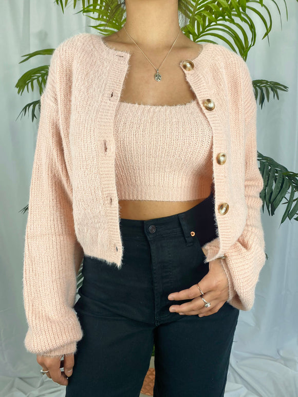 Coraline Cardigan Set (blush)