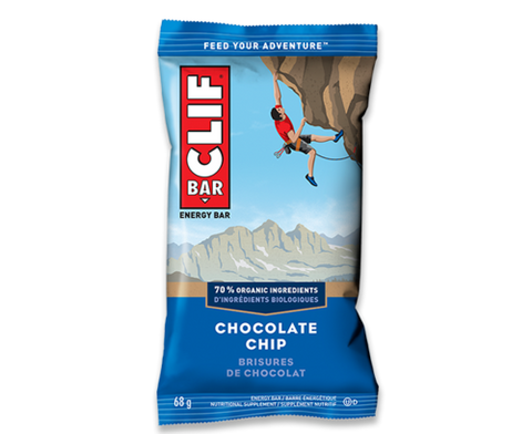 A Clif bar in chocolate chip flavour