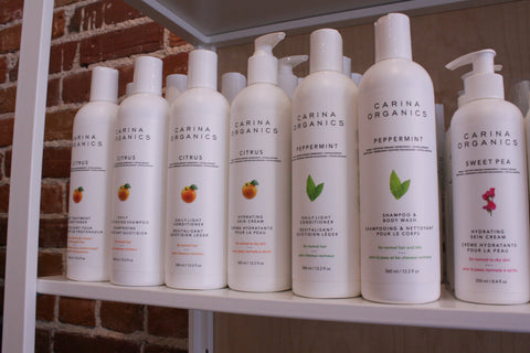 A display of Carina Organics hair products on a shelf