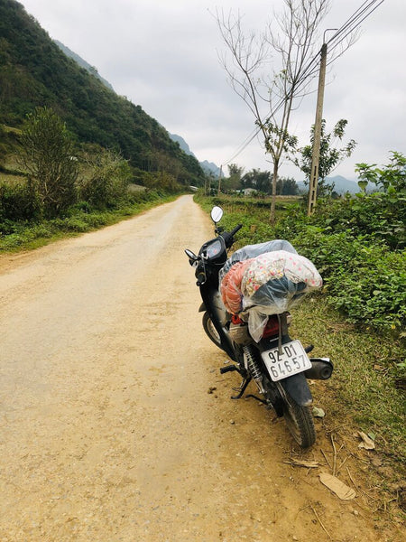Motorbike by a roadside in Vietnam