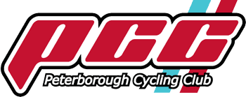 Peterborough Cycling Club logo, made up of the initials PCC in red