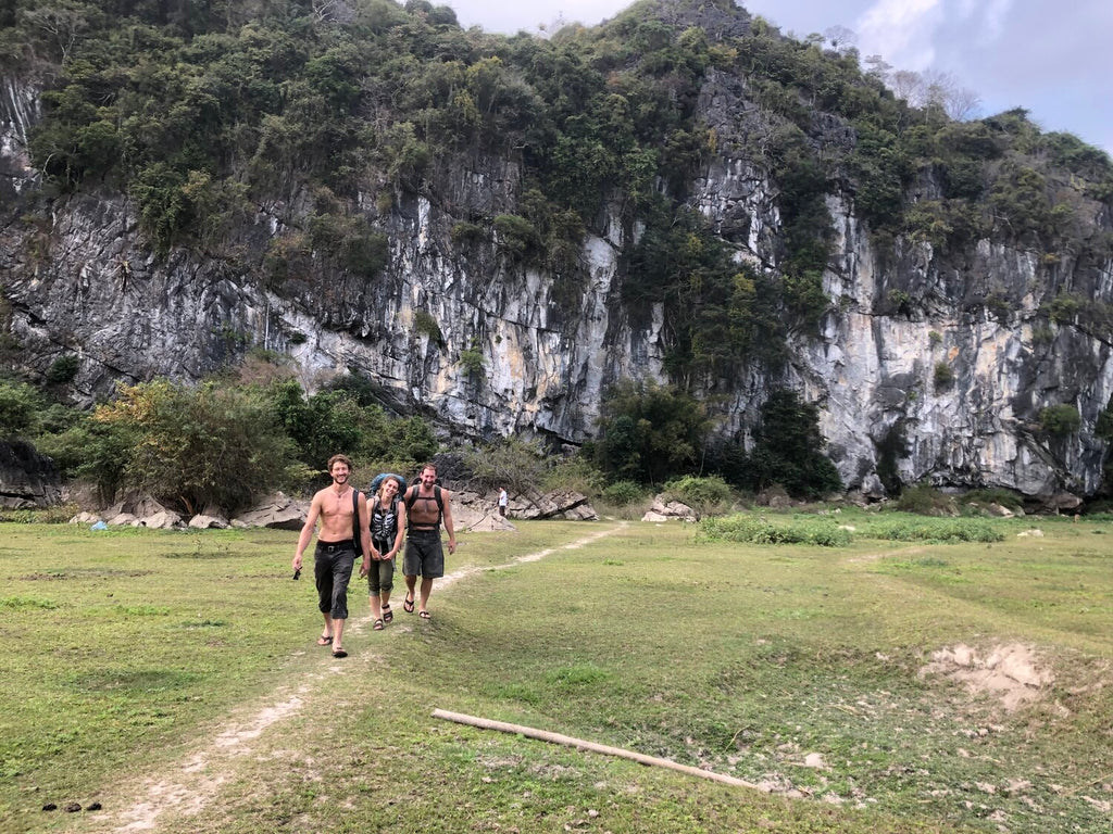 Three hikers in southeast Asia
