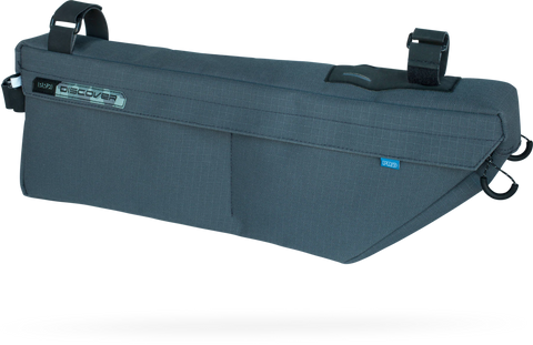 Image of a blue Pro Frame bag for a bicycle