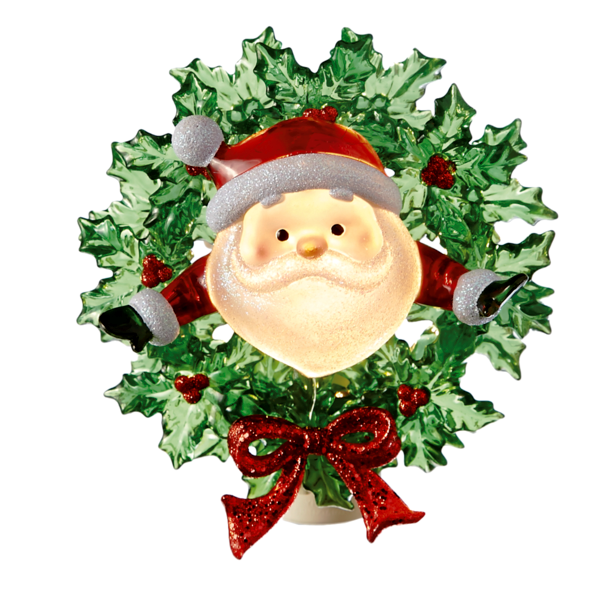 Night Light: Santa in Wreath