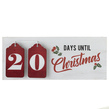 """Days until Christmas"" Countdown Calendar with Red Number Tags"