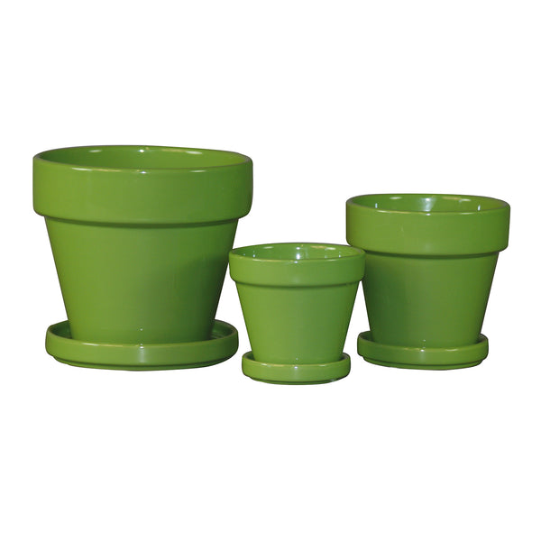 Standard Pot Saucer Attached:  Green Apple