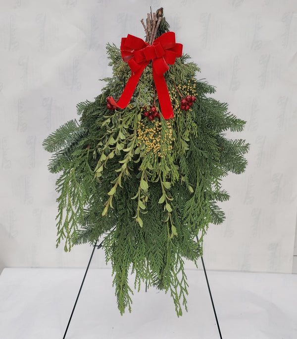 Swag Cemetery Wreath with Stand (Local Delivery Only)