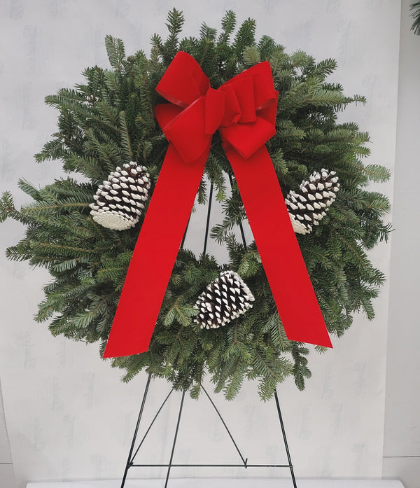"Frasier Fir 24"" Cemetery Wreath with Stand (Local Delivery Only)"