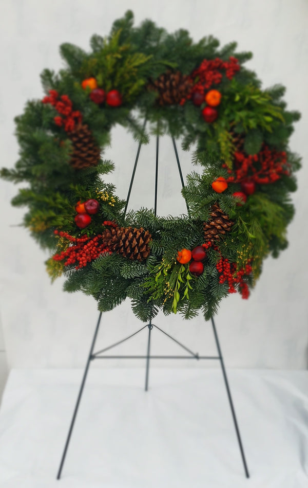 Cemetery Fresh Fruit Wreath on Stand