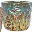 Floral Planter: Blue Green on Yellow Cream Glaze