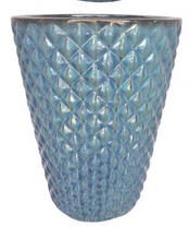 Diamond Pattern Tall Planter: Ultra Marine Glaze