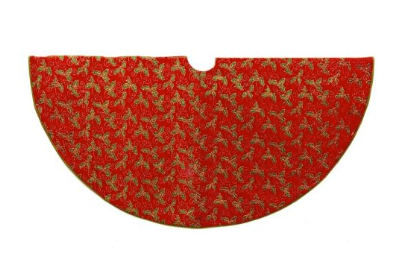 "Tree Skirt: 52"" Red with Gold Holly Print"