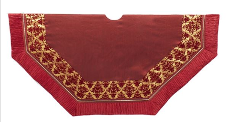Tree Skirt: Burgundy with Gold Patch work 54""