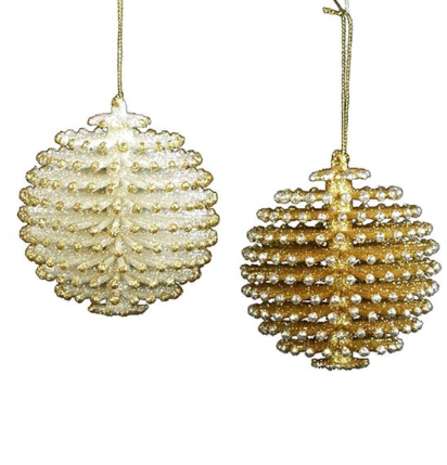 Ornament: Gold and Silver Pinecone