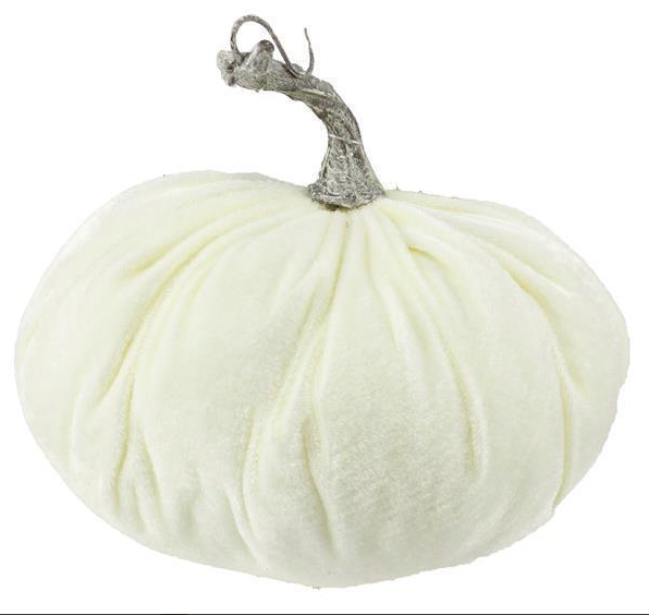 "Cream Velvet Pumpkin  8"" x 5"""