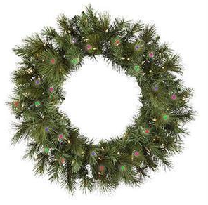 "60"" Pre-Lit Artificial Wreath: Anchorage Fir, Multi-colored Lights"