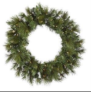 "24"" Pre-Lit Artificial Wreath: Anchorage Fir, Clear Light"