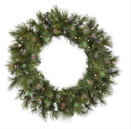 "24"" Pre-Lit Artificial Wreath: Anchorage Fir, Multi-colored"