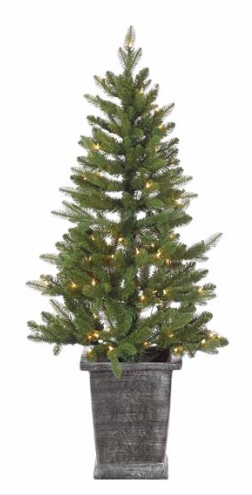 4' 52 Artificial Needle Potted Pre-lit Spruce Tree