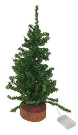 "18"" Pre-lit Artificial Mini Pine Tree"