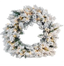 "30"" Artificiall Wreath: Snow-frosted/Pre-lit"