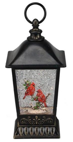 "11"" Snow Globe: Brown Lantern with Cardinal"