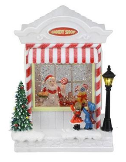 "8"" Snow Globe: Santa's Candy Shop"