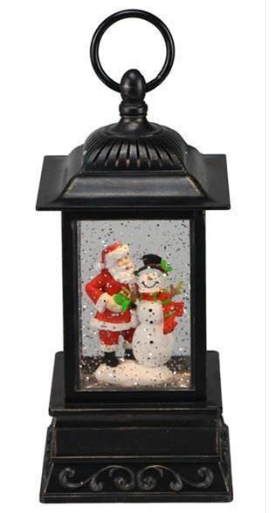 "10"" Snow Globe: Brown Lantern with Santa and Snowman"