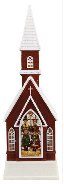 "16"" Snow Globe: Red Church Nativity Scene"