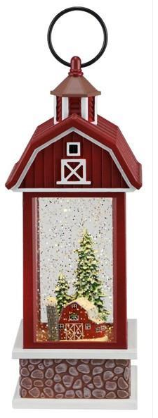 "11"" Snow Globe: Red Barn with Picturesque Pine Trees"